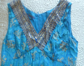SALE Beautiful blue and gold sequined beaded midi dress by Monsoon M