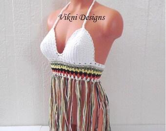 Vikni Crochet Festival White Sunshine Halter Top - Made To Order