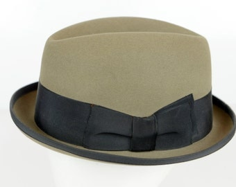 men's fedora, Stetson, hat, Royal Stetson, 1950s, excellent condition, 7 3/8, John B. Stetson Co., sueded, grey olive, mid century,