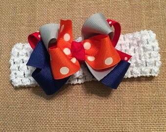 Baby Girls split team Hair Bow & Headband