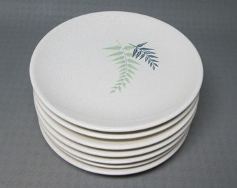 Franciscan pottery Fern Dell bread and butter plates , set of 6 .