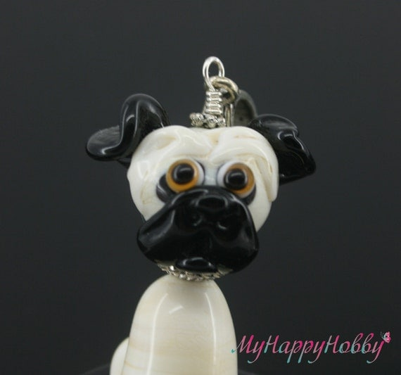Pug necklace glass charm pendant jewelry with silver chain bead lampwork , miniature , figurine , sculpture