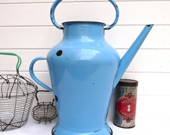 Fabulous Shabby Chic Blue of France Enamel Pitcher - Antique French Enamel - Country Farmhouse - French Enamel Pitcher