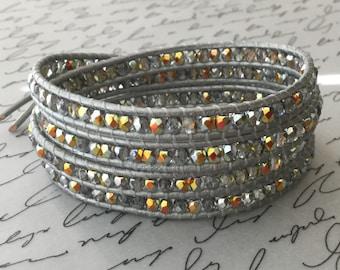 Leather Wrap Bracelet, Silver, Grey, Metallic Beaded Wrap, Chic, Free Shipping
