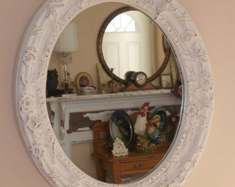 Baroque  Oval Framed Wall Mirror - Chunky Vintage Circa 1970 Gilded Regency - Ornate Shabby Chic - Distressed in Creamy Wihte