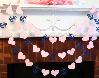 Nautical Wedding Decorations - Bridal Shower decorations , 10ft navy and Pink anchor garland, Anchor Banner Your color choice