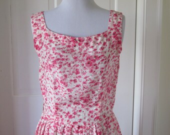 Pink Silk Cherry Blossom Dress, Deep Pink on Ivory Silk, Square Neck, Pleated Wide Skirt, 1950's Mad Men Style, Handmade, OOAK, Exquisite