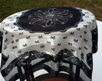 Scarf Monochromatic Tartan Carriage Horses Jacquard Silk Ivory Stripe Charcoal High Fashion Accessory Shawl Sized 42 x 43 Winter White