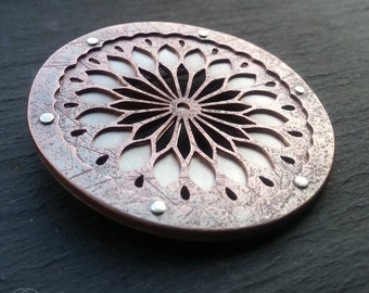 Mandala Brooch - handcut sterling silver and oxidised copper - Handcrafted Sacred Geometry