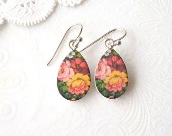 Wooden Dangle Teardrop Vintage Floral Earrings