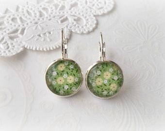 Silver Dangle Green Floral Earrings