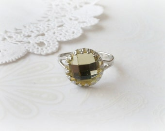 Silver Ring with Yellow Acrylic Stone