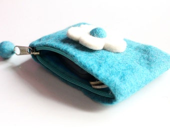 Felt Zipper Coin Purse with Flower-Nepalese HandFelted Coin Pouch for Women