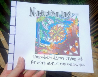 Lovecraft themed coloring book for adults original artwork OOAK