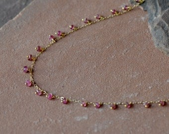 Pink Tourmaline Necklace, Delicate Dangling Gemstones, Delicate Gold Chain