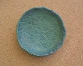 Blue green ceramic dish - Stoneware trinket dish -  Bowl with lace imprint