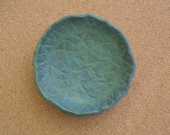 Blue green ceramic dish - Stoneware trinket dish -  Bowl with lace imprint
