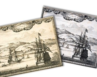 Old ships Panama  antique picture Engravings  (1700 )   instant download high resolution jpg 2 pics