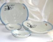 Japanese Sushi Plates Blue White Porcelain Japan Dinnerware Arita Pottery Chefsware Dishes Mid century Asian Bowls Ceramics Serving Set