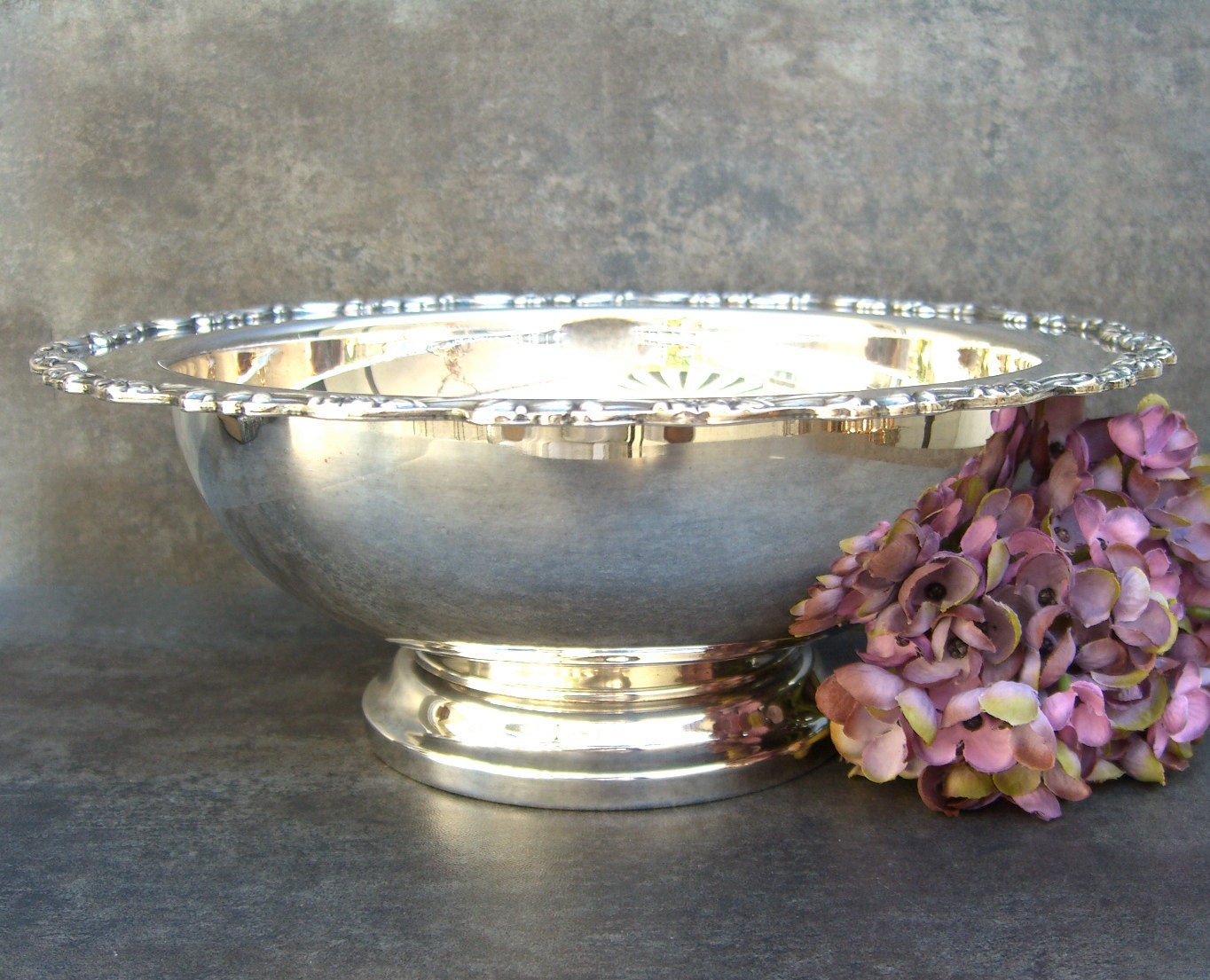 Silver pedestal compote footed bowl centerpiece seasonal - Footed bowl centerpiece ...