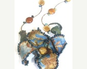 DELAYED SHIPPING thru 8/3 Fabric Flower Necklace Hand Beaded ooak Statement Necklace Blue Brown Batik