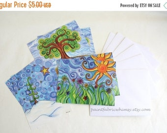 DELAYED SHIPPING thru 8/3 Postcard Set printed with Original Art - Set of 6 Cards Original Watercolor Prints with Envelopes