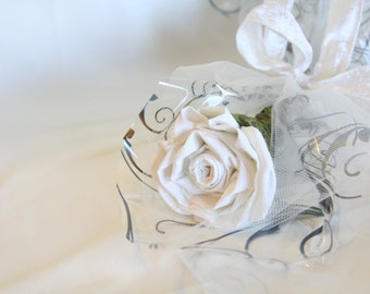 White Rose Stem Handmade Fabric Flower Everlasting Bouquet for Wedding Bridal, Eco Friendly, Wedding Flowers, Handmade, Flower Bouquet