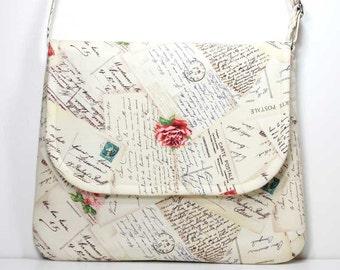 Medium Crossbody Bag Shoulder Purse Sling Bag Hobo Bag Cross Body Bag - French Post Cream - Michael Miller Fabric - Made to Order