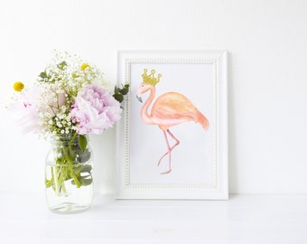 Pink Flamingo with Gold Crown Art Print, art print, flamingo, pink flamingo, ideal for flamingo lovers
