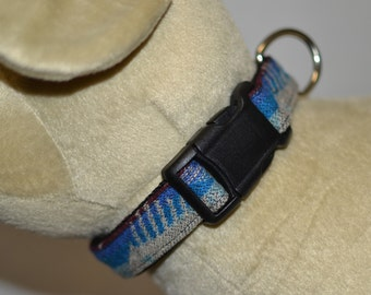 Special Fancy Medium Dog Collar made of colorful blue Native American Wool - adjustable dog collar 13-19 inches - dog lover gift