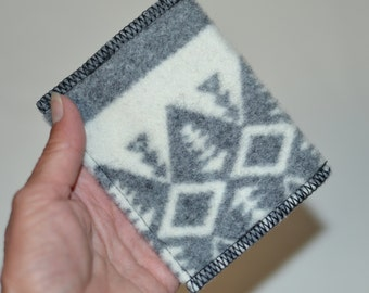 wallet - casual mens or womens - made of Wool fabric - front or back pocket card case slim trendy hip wallet - id card case wallet