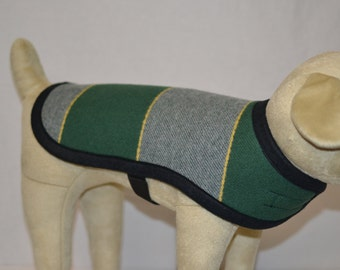 University of Oregon U of O green yellow themed Dog Coat ORDER ANY SIZE mid-weight wool for Spring dog puppy coat jacket sweater