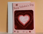 valentine card, handmade card, embossed card, greeting card, sweetheart, for anyone