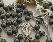 Rosary, St. James Crucifix, Our Lady of Medjugorje, Black Hematite, Fire Crackle Agate, Strong, Stainless Steel, Handcrafted Gemstone Rosary