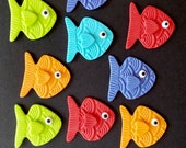 Fish Fondant Cupcake or Cake Topper Decorations - Perfect for under the sea birthday parties, beach parties, Luaus or Summer parties