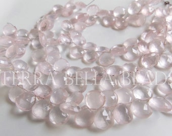 "4"" half strand AAA ROSE QUARTZ  faceted gem stone heart briolette beads 10mm"