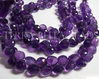 20 pc strand DEEP PURPLE AMETHYST faceted gem stone onion briolette beads 8mm - 9mm