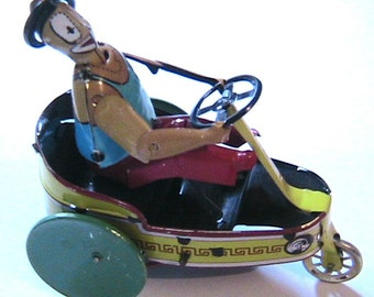 Vintage Wind-Up Metal Tin Toy - Circus Articulated Clown Driving a 3 Wheels Car - Highly Collectibles