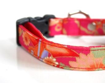 Japanese Kimono Design Origami Crane Dog Collar - Pink