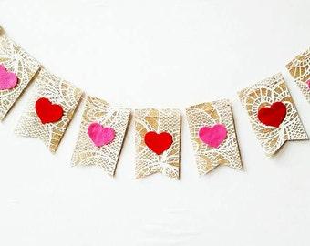 SALE Heart Burlap Banner on Lace Printed Burlap Felt Hearts