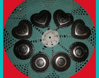 Vintage Southwest Antiqued Silver Plate CONCHOS  Hearts or Round Laced Edges