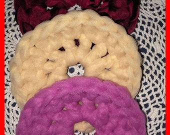 Nylon Pot SCRUBBERS, 3 Crocheted, Sinks, Bathroom, Exfoliate, Gift Baskets Kitchen Gadget