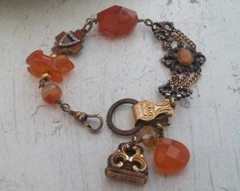 BEAUTIFUL AGATES Watch Fob vintage  antique assemblage  bracelet