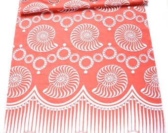 Coral Seashell Embroidered Cotton Fabric Panel, Large Shell Design Fabric, Coral Fabric, Decorative Fabric Sample