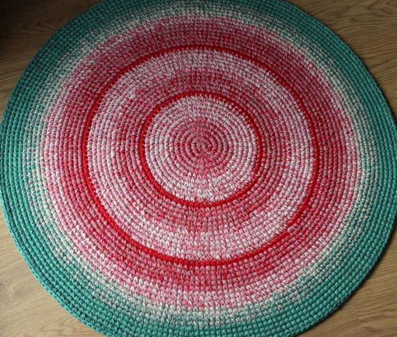 Pink And Mint Green Crochet Rug 36 Inches In Diameter