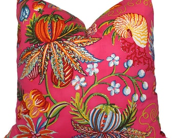Magenta Jacaranda China Seas Quadrille Square, Eurosham or Lumbar pillow Accent Pillow, Throw Pillow, Toss Pillow, China Seas