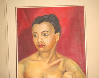 Original Mid Century Oil Painting Nude Female 1954