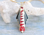 Art Deco Necklace - Geometric Black Red and Gold Enamels