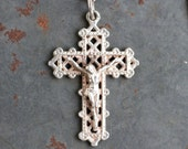 Antique Ornate Sterling Silver Cross Necklace - Gothic Crucifix Pendant of Chain