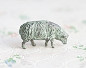 Iron Cast Little Grazing Sheep - Antique Lead Toy in Powder Blue - Made in England